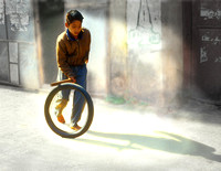 Rolling a Tire, Nepal
